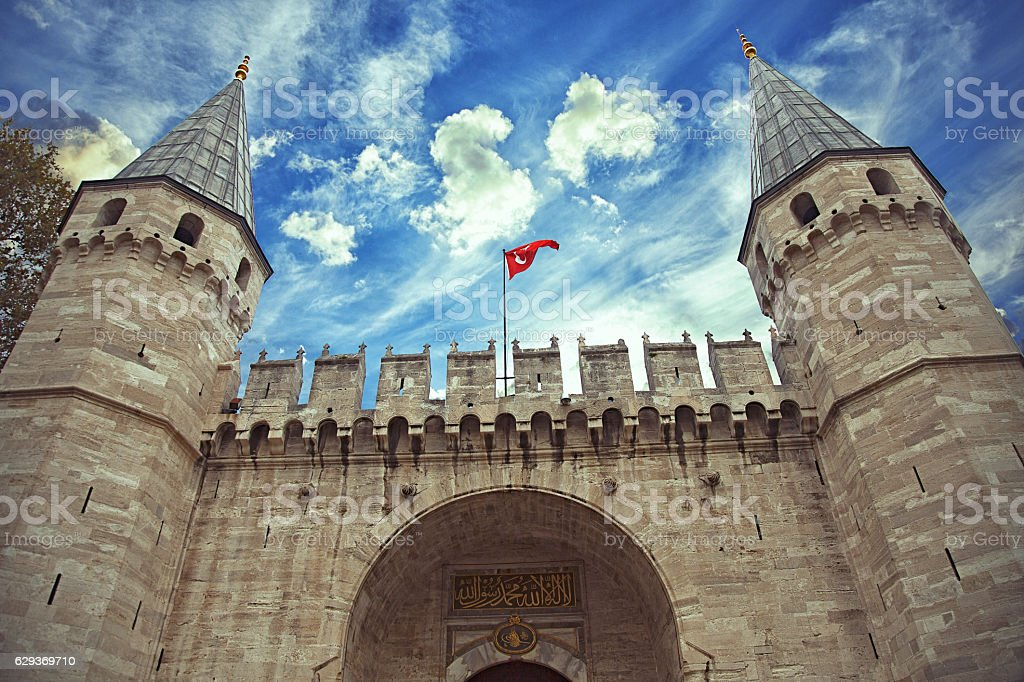 Gate of Ottoman Sultans palace in Istanbul stock photo