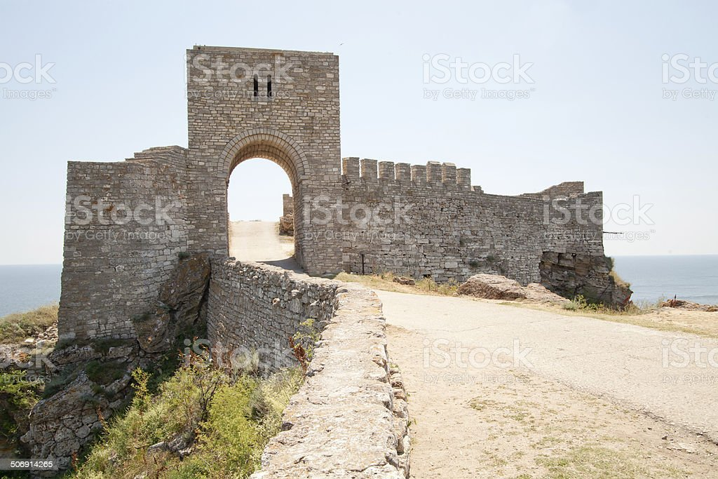 gate of the medieval fortress on cape Kaliakra, Bulgaria. stock photo