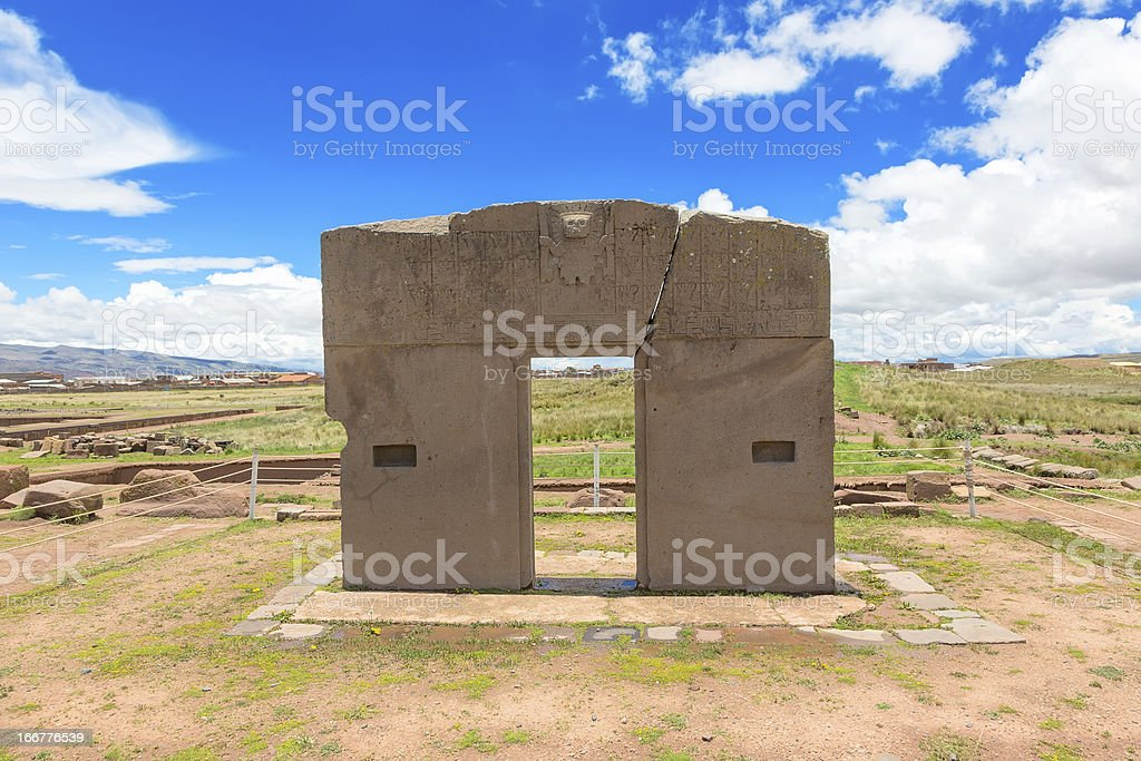 Gate of the Sun, Tiwanaku ruins, Bolivia royalty-free stock photo