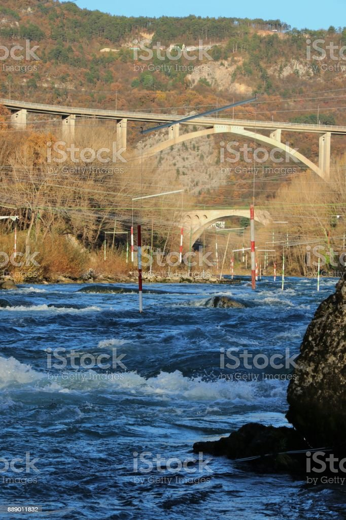 Gate of whitewater slalom in Solkan village, Slovenia stock photo