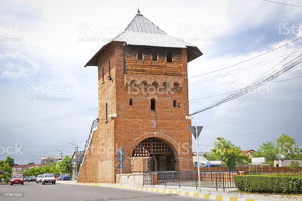Gate poartal landmark of Targoviste , Romania. stock photo