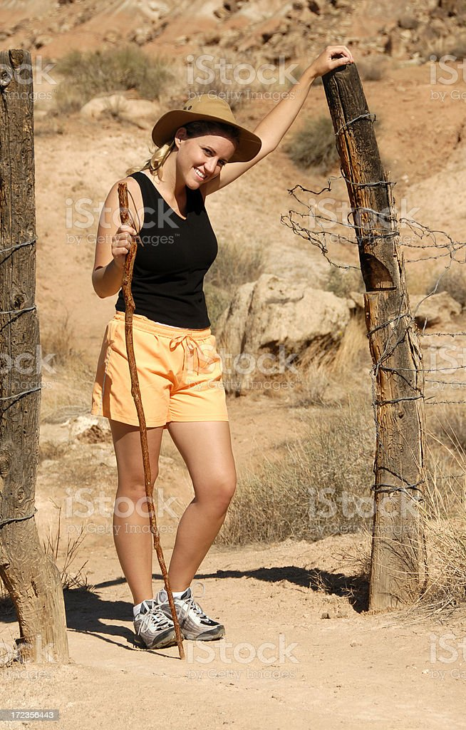 Gate Post Hiker royalty-free stock photo