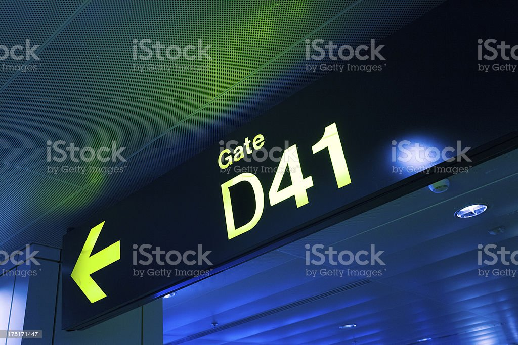 Gate Sign Panel at the Airport stock photo