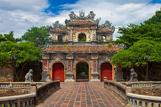 Gate to a Citadel in Hue Gate to a Citadel in Hue, Vietnam. Citadel in Hue is enlisted in UNESCO's World Heritage Sites. huế stock pictures, royalty-free photos & images