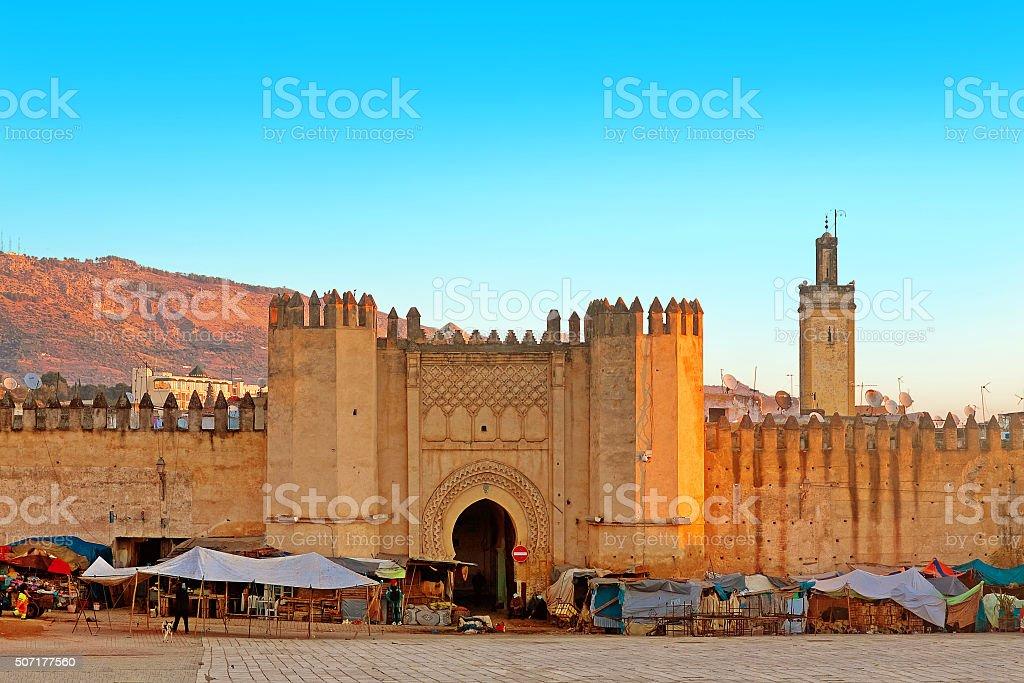 Gate to ancient medina of Fez, Morocco stock photo