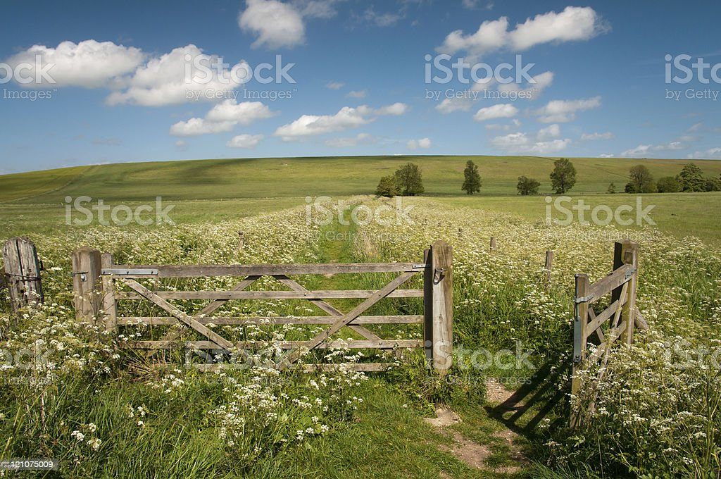 gate to countryside stock photo
