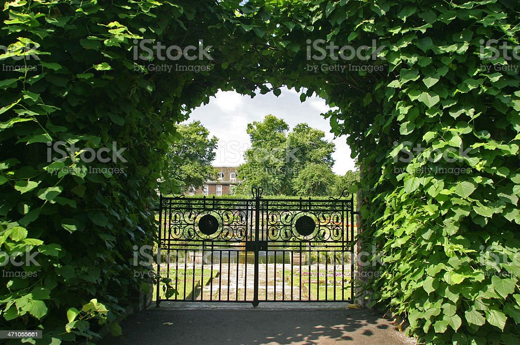 Gate To Formal Gardens stock photo