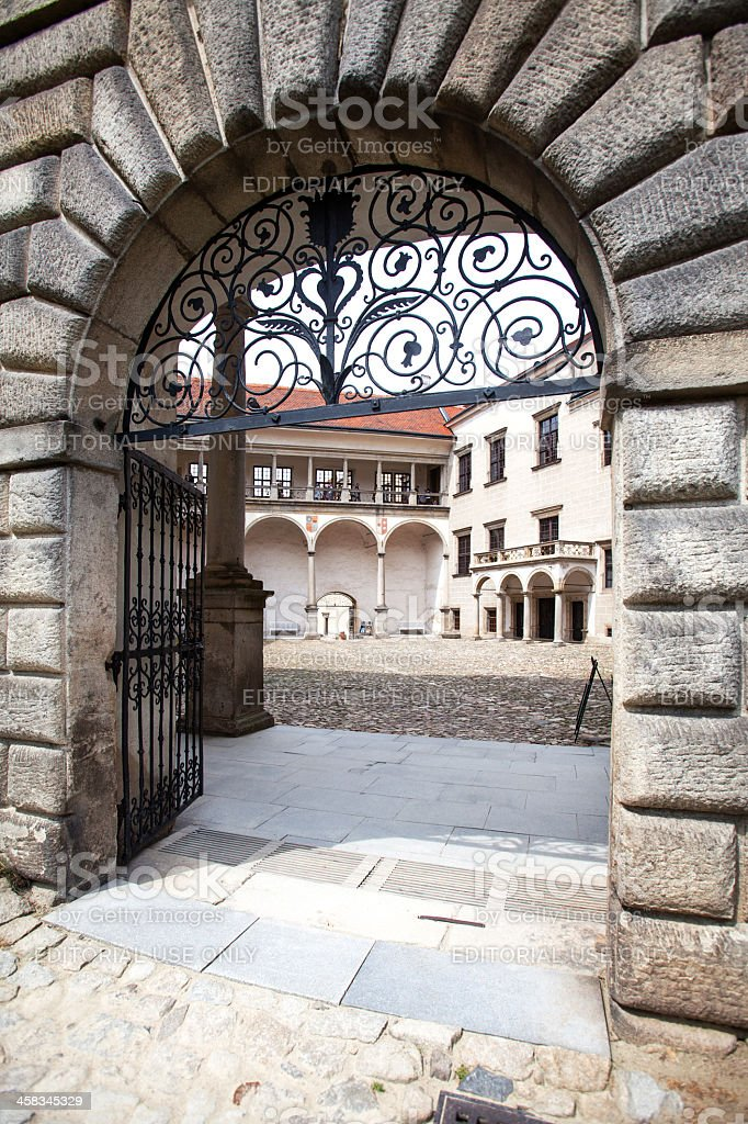 Gate to gothic castle courtyard in Telc city, Czech Republic. royalty-free stock photo