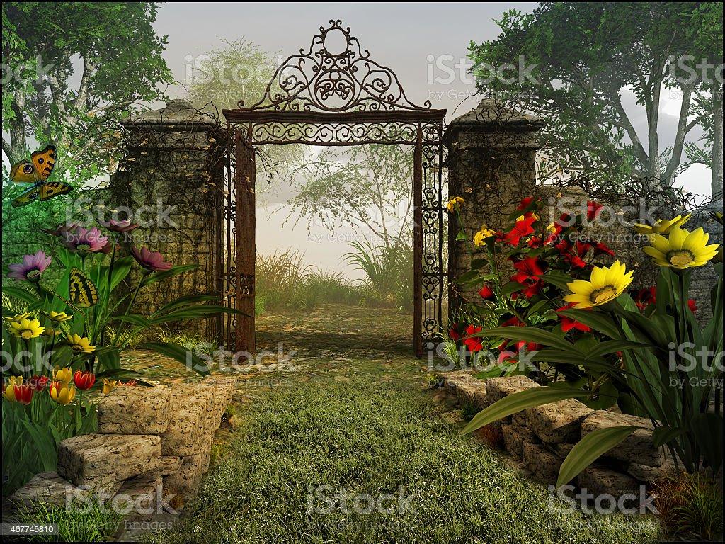 Gate to magic garden stock photo