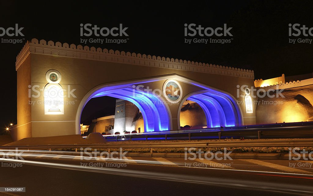 Gate to Muttrah at night, Oman royalty-free stock photo