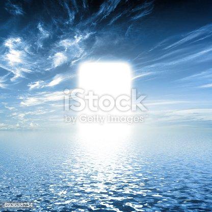 istock Gate to paradise, way on water towards light, new world, God. 693638234