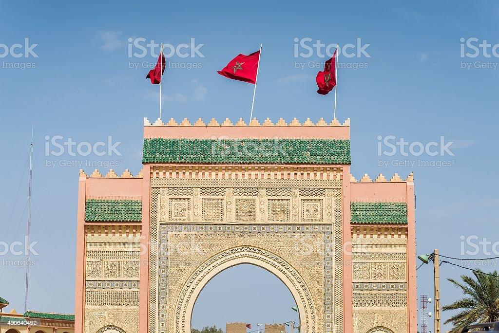 gate to the desert near merzouga stock photo