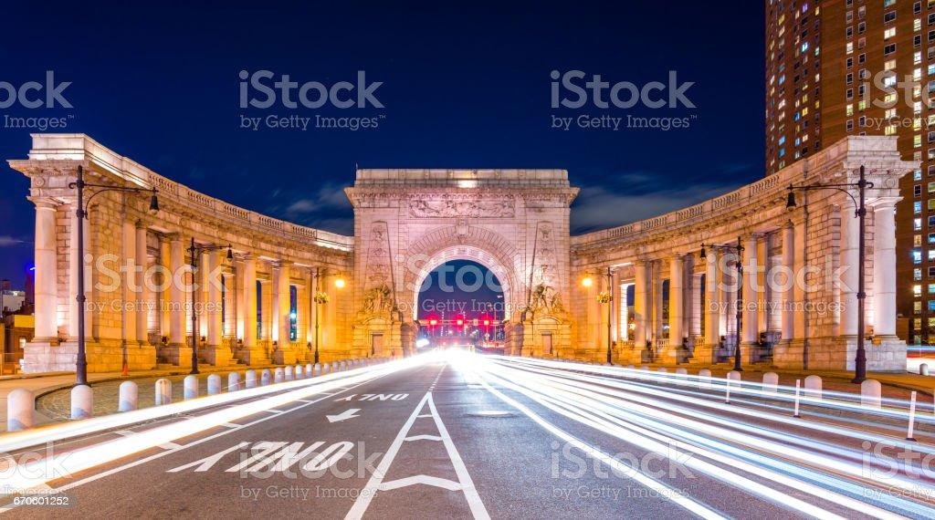 Gate to the Manhattan Bridge stock photo