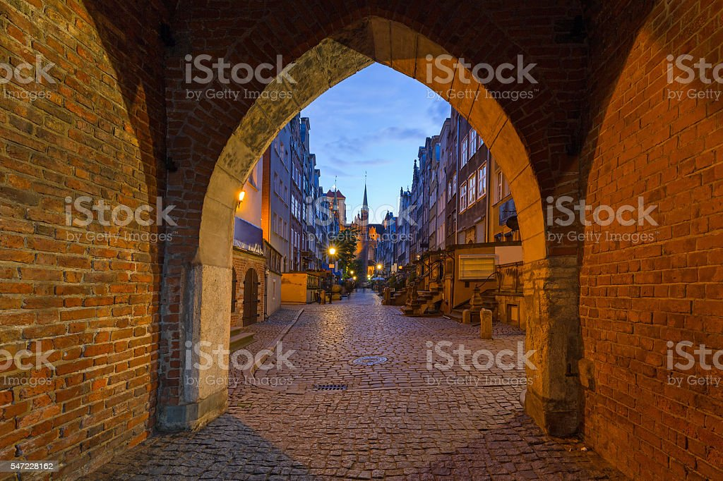 Gate to the Mariacka (St. Mary) street in Gdansk stock photo
