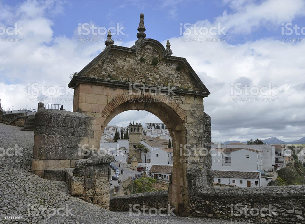 Gate to the old city of Ronda, Spain stock photo