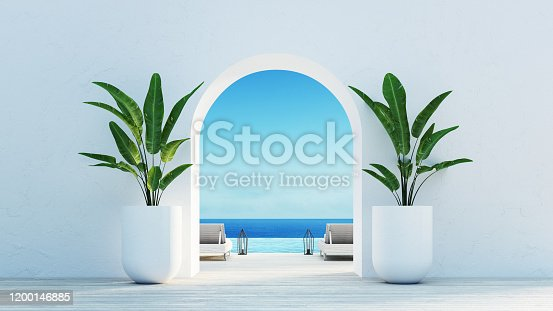 istock Gate to the sea view & Beach living - Santorini island style / 3D rendering 1200146885
