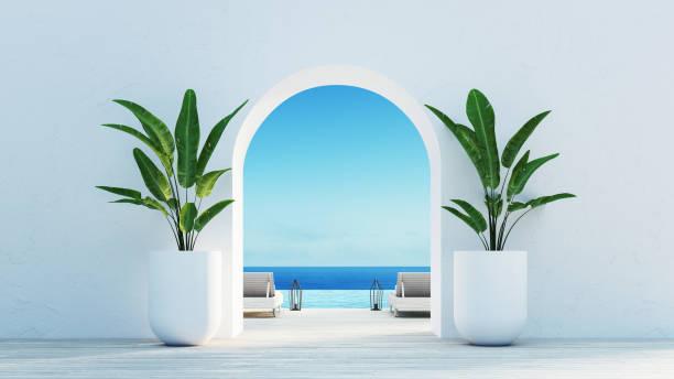 gate till havsutsikt & beach living-santorini island style/3d rendering - egeiska öarna bildbanksfoton och bilder