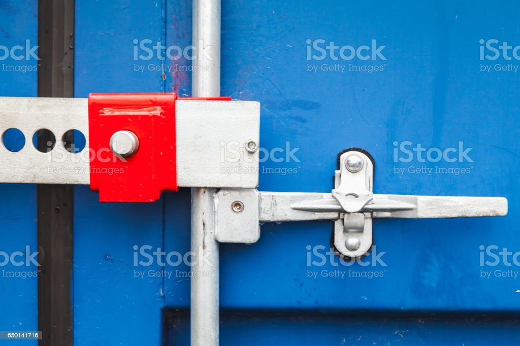 Gate Valve And Lock Shipping Container Stock Photo - Download Image