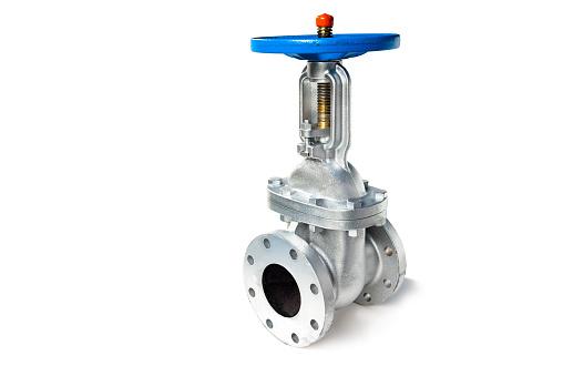 Gate valve isolated on white background.Manual valve.