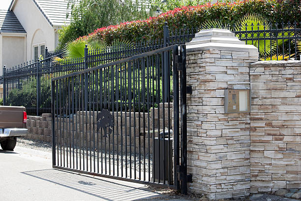 Gated Community Entrance Gated community entrance with intercom in California.More Exteriors here: gated community stock pictures, royalty-free photos & images