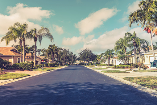 istock Gated community houses with palms, South Florida 902803782