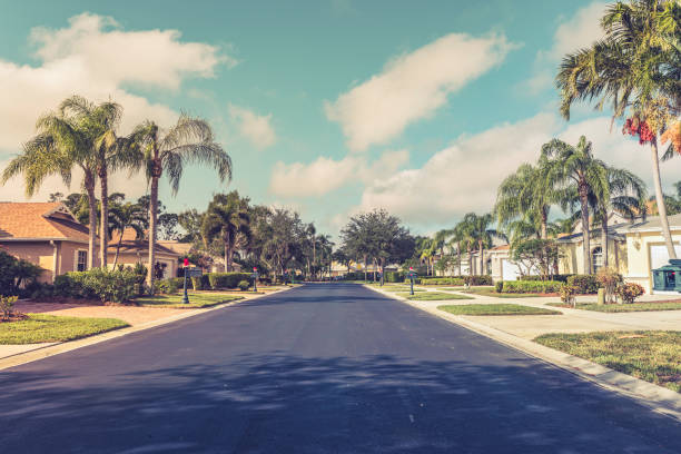 Gated community houses with palms, South Florida Asphalt road through gated community subdivision, South Florida. Vintage colors gated community stock pictures, royalty-free photos & images