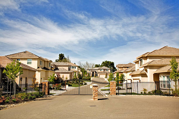 Gated Community Gated community in California. gated community stock pictures, royalty-free photos & images