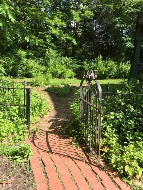 Gated Garden Path stock photo