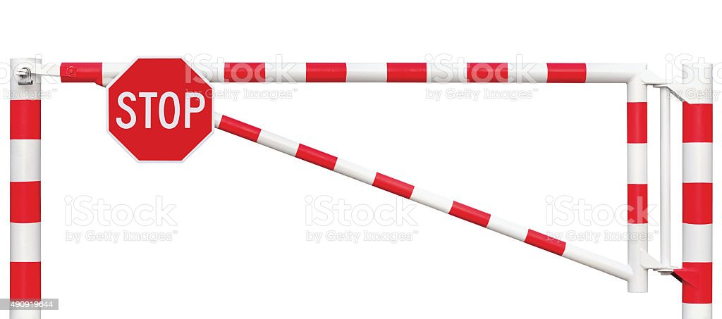 Gated Road Barrier Closeup, Octagonal Stop Sign, Roadway Gate Isolated stock photo