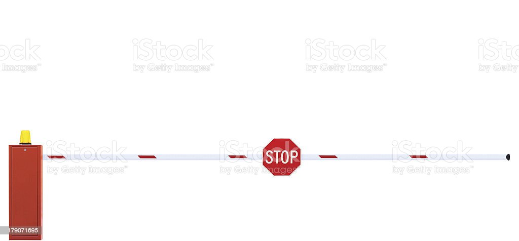 Gated Road Barrier, Roadway Gate Bar, Stop Sign, Closed, Isolated royalty-free stock photo