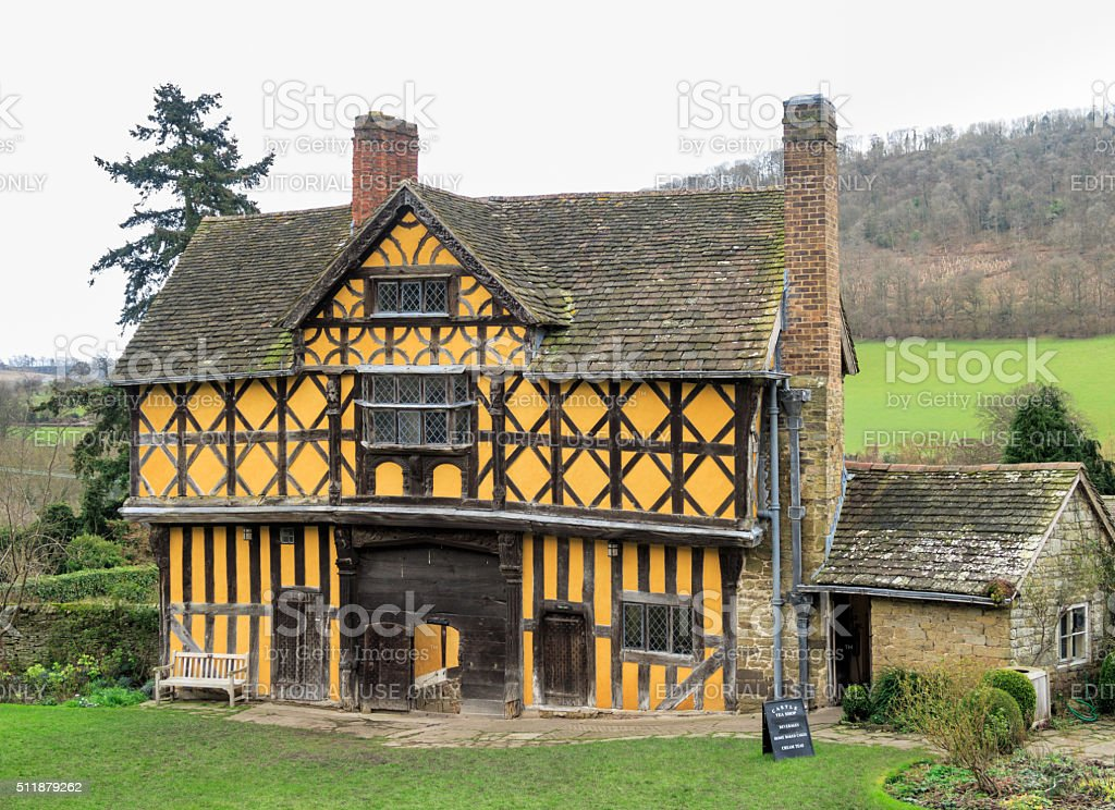 Gatehouse at Stokesay Castle, England. stock photo