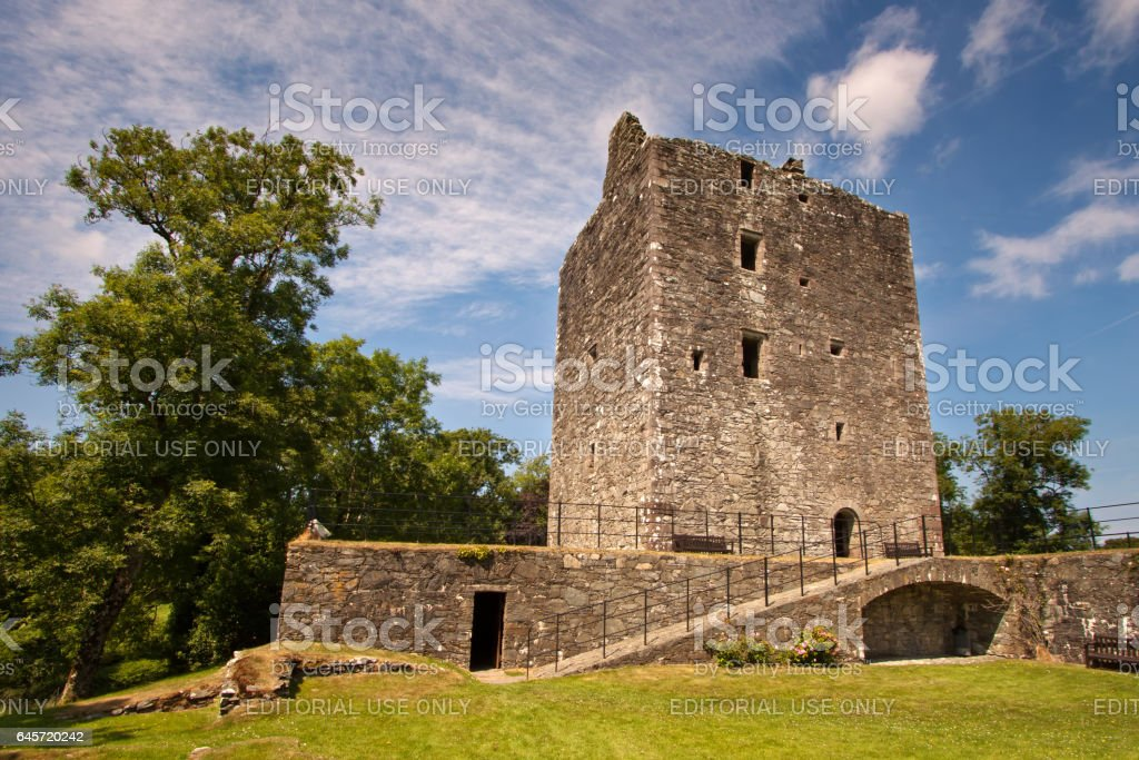 Gatehouse of Fleet, Kirkcudbrightshire, Dumfries and Galloway, Scotland – July 14, 2013: Cardoness Castle stock photo