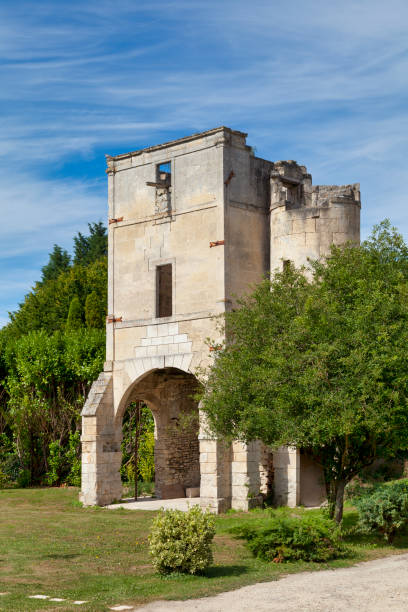 Gatehouse of the commandery of Moisy-le-Temple in Montigny-l'Allier stock photo