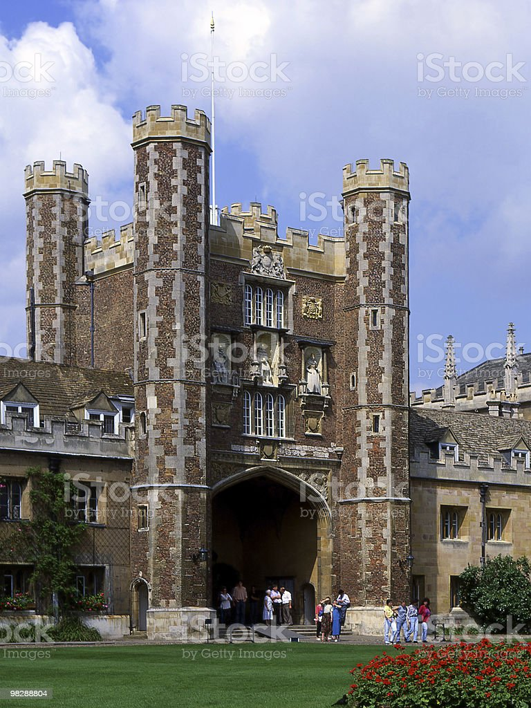 Gatehouse to The Great Court at Trinity College. Cambridge. England royalty-free stock photo
