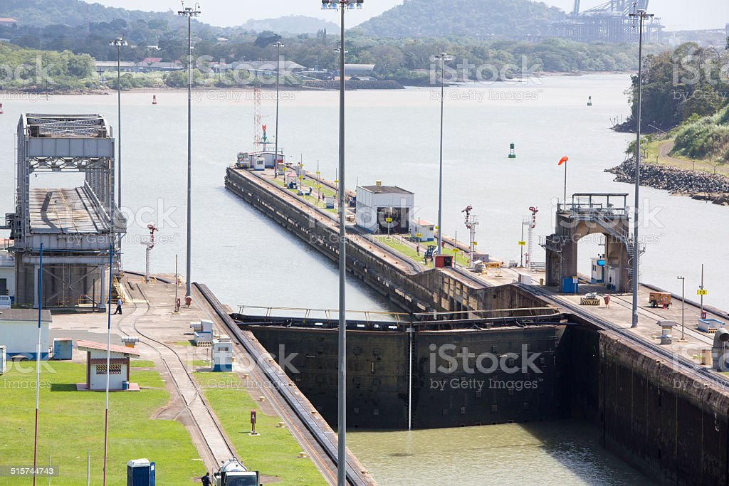 Gates and basin of Miraflores Locks Panama Canal stock photo