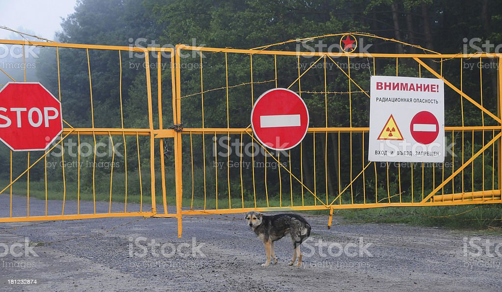 Gates and prohibition sign royalty-free stock photo