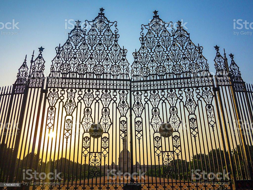 Gates at entrance to House of Parliament, Delhi, India stock photo