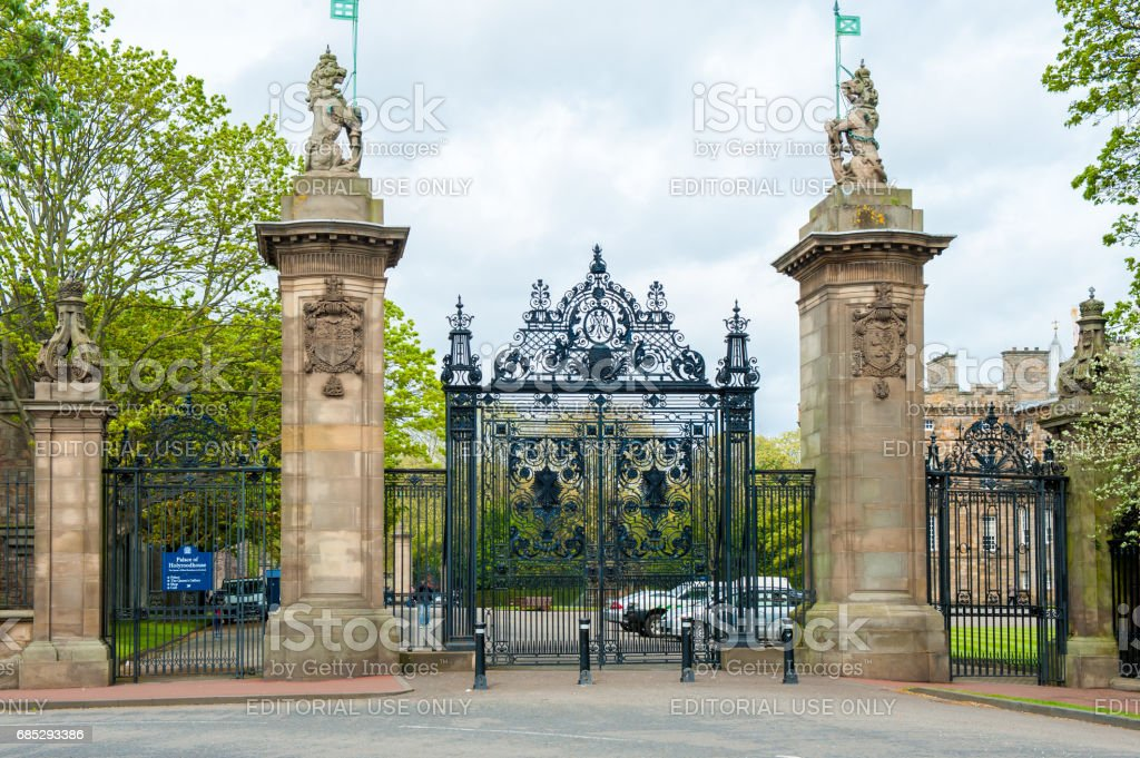 Gates of Holyrood Palace, Edinburgh, Scotland stock photo