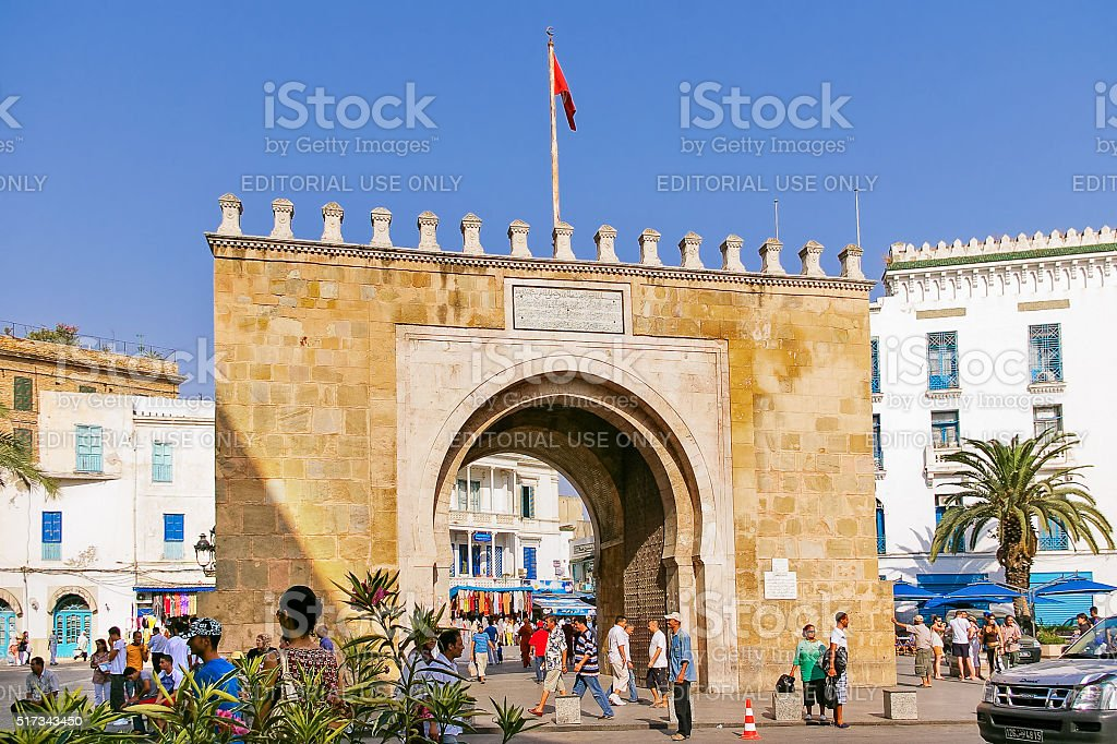 Gates of Medina, old center of Tunis. stock photo