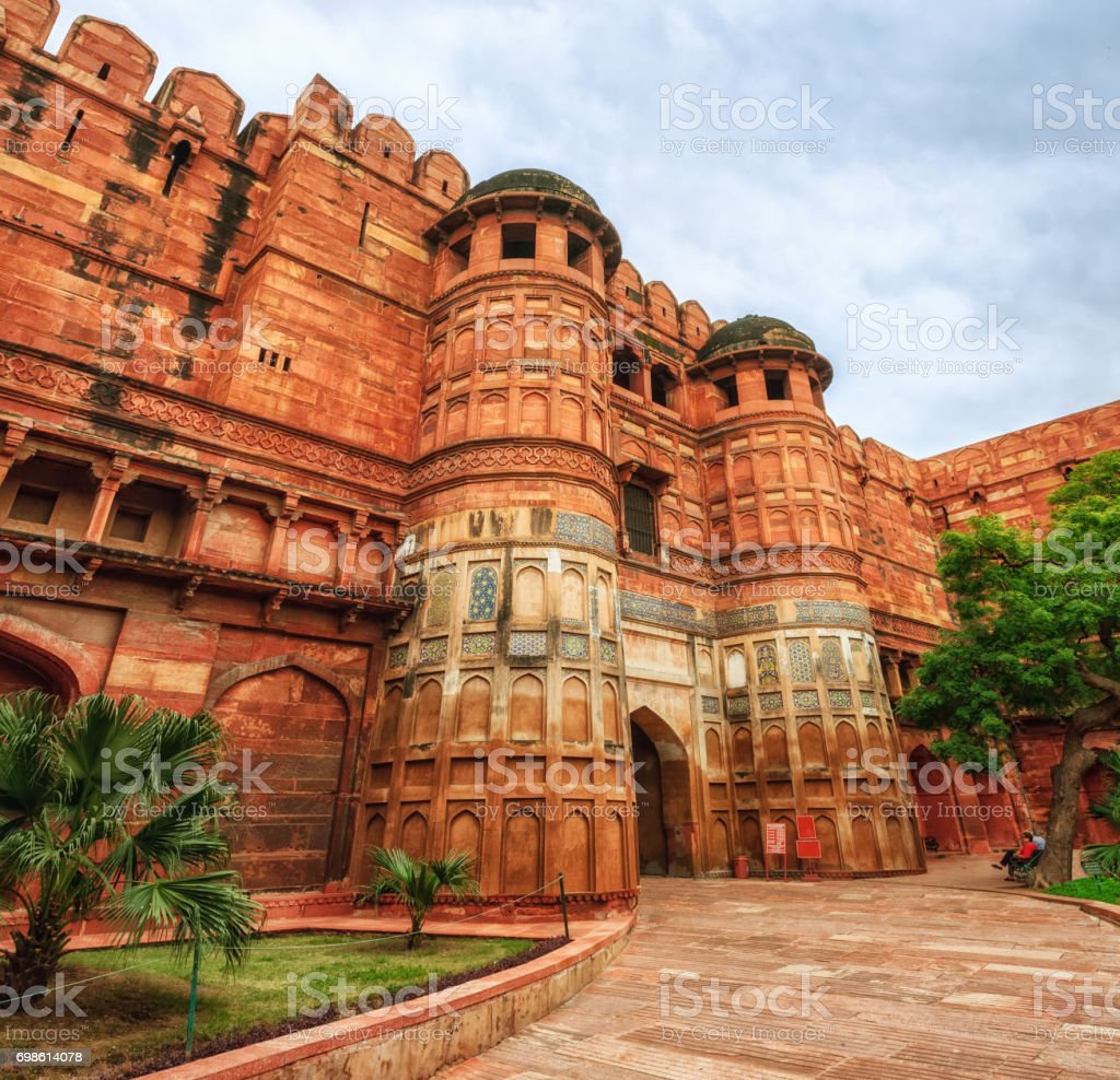 Gates of Red Fort of Agra, India stock photo