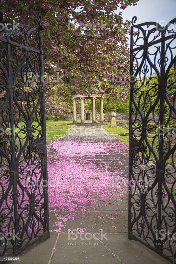Gates to Garden in Spring stock photo