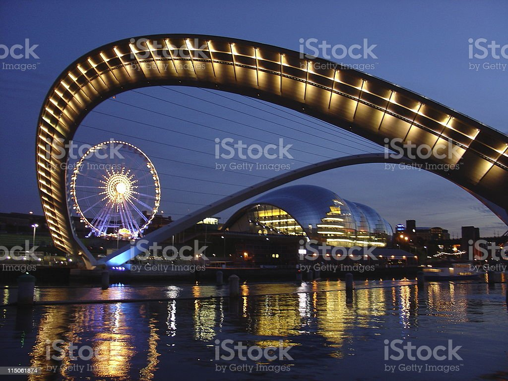 Gateshead Millenium Bridge in Newcastle royalty-free stock photo