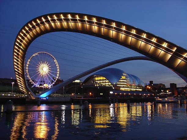 gateshead millenium bridge in newcastle - gateshead stock photos and pictures