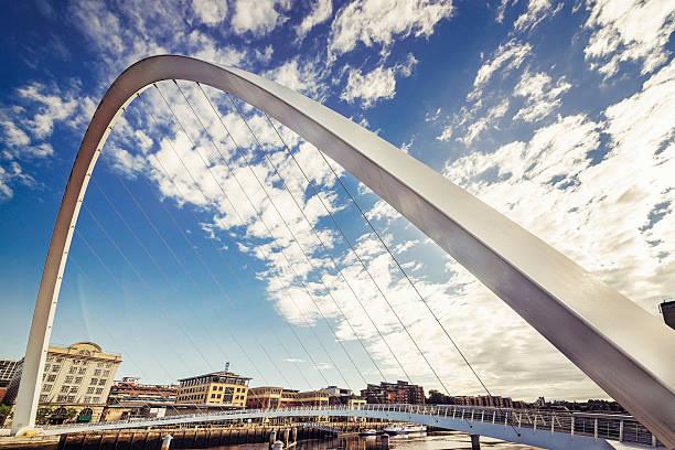 gateshead millenium bridge -wide angle - gateshead stock photos and pictures
