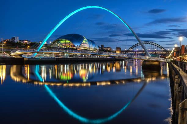 gateshead millennium bridge - gateshead stock photos and pictures
