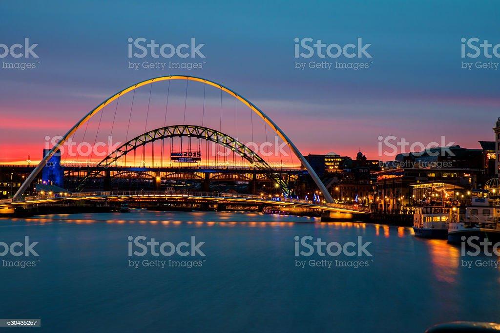 Gateshead Tyne and Millennium bridges at Sunset stock photo
