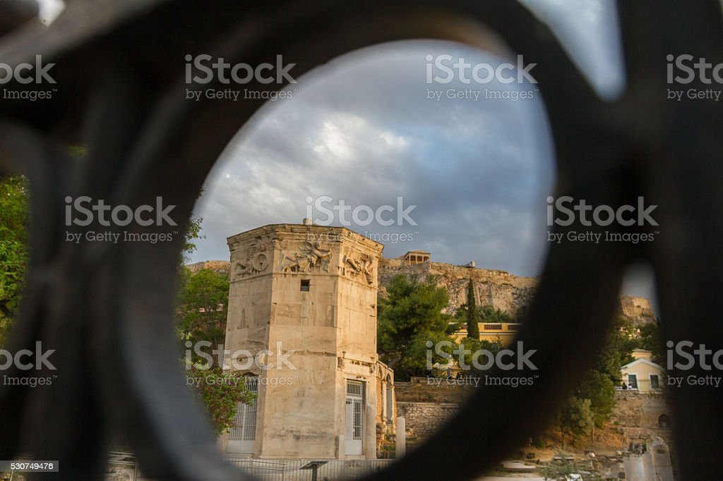 Gate-view of Tower of Wind-gods in Roman Forum and Acropolis stock photo