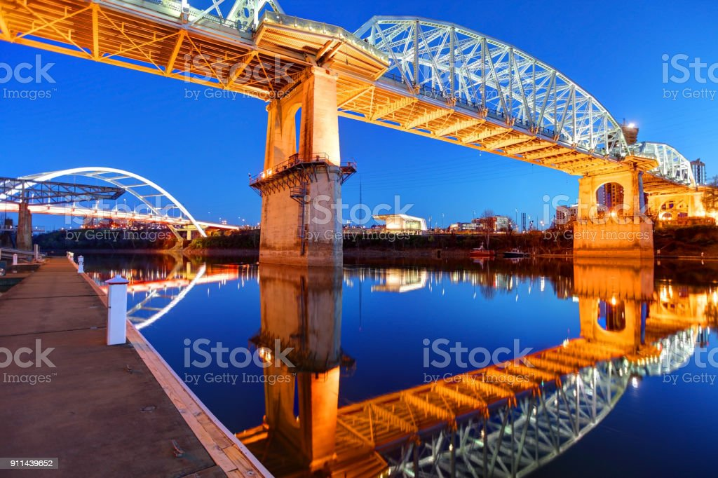 Gateway and the Shelby Street Bridges in Nashville Tennessee stock photo