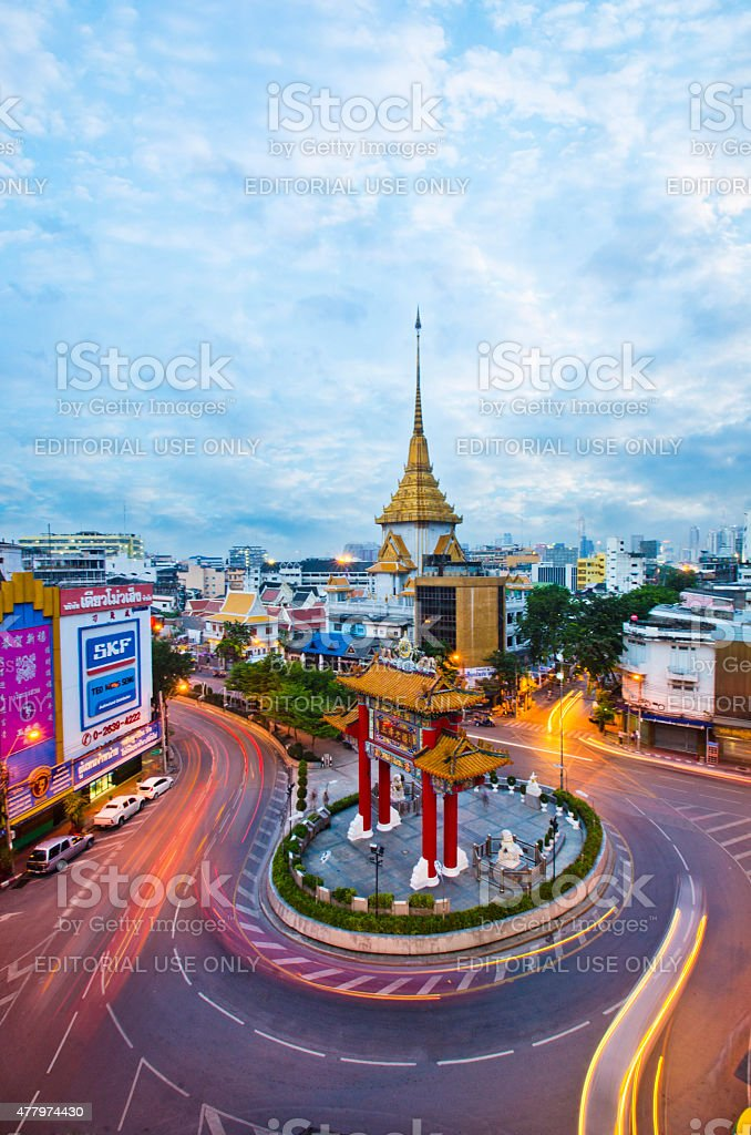 Gateway Arch (Odeon Circle), China town, Yaowarat, Bangkok, Thailand stock photo
