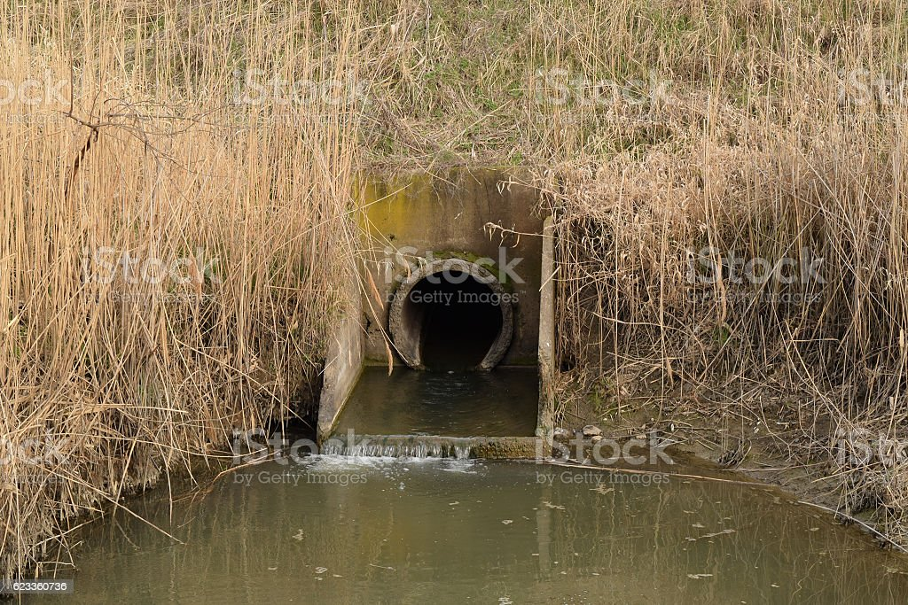 Gateway between the channels of irrigation system rice fields stock photo